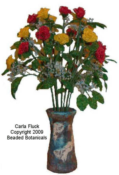 Red and Yellow Roses in Blue Raku Vase