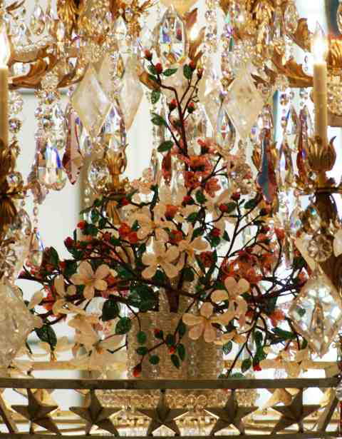 Close up of the Apple Blossom Bouquet in the Chandelier
